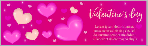 Valentines Day banner with realistic 3D heart. Template for your design with space for text.  Stock Photography