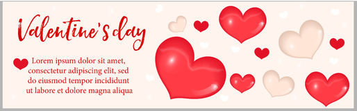 Valentines Day banner with realistic 3D heart. Template for your design with space for text. Vector illustration. Royalty Free Stock Image