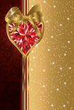 Valentines day banner with ruby heart Royalty Free Stock Photography