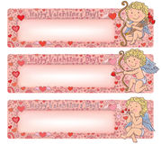 Valentines Day banners with cupid Stock Image