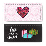 Valentines day banners with gifts and modern calligraphy. Life is sweet. Vector design element for invitations decorations Royalty Free Stock Photography