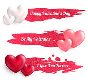 Valentines Day Banners with Heart Balloons Royalty Free Stock Images