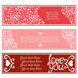 Valentines Day Banners set. Vector illustration Royalty Free Stock Image