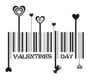 Valentines day barcode vector illustration