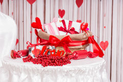 Valentines Day Basket and Arrangement on Table Stock Photos