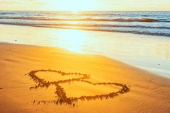 Valentines day on beach royalty free stock photo
