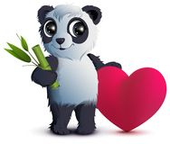 Valentines Day. Bear panda holds stalk of bamboo and red heart. Isolated on white vector cartoon illustration Stock Image
