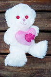 Valentines Day Bear White. Valentines day white bear with pink heart and eyes Royalty Free Stock Photography