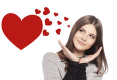Valentines Day. Beautiful girl teenager with heart stock photo