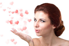 Valentines Day. Beauty Young Woman with Valentine Hearts. Love Concept. Valentines Day Stock Photo