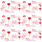 Valentines day with bicycle and ballon heart shaped on white bac Stock Images
