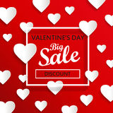 Valentines day big sale background, vector. Valentines day big sale background, poster template. Red abstract background with hearts ornaments. February 14 Royalty Free Stock Image