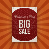 Valentines Day big Sale hanging paper Banner Stock Photos