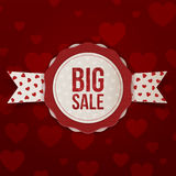 Valentines Day Big Sale Label with Text and Ribbon Stock Photography