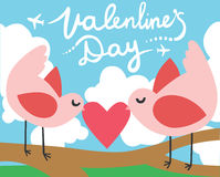 Valentines Day Birds with a Heart Stock Photography