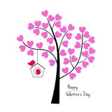 Valentines day birds with tree and birdhouse. Vector graphic Vector Illustration