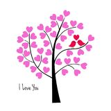 Valentines day birds in tree. Vector graphic Stock Illustration