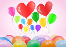Valentines day or birthday card with balloons Stock Photography