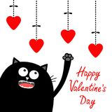 Valentines Day. Black cat looking up to hanging red hearts. Paw print. Dash line. Heart set Cute cartoon character. Kawaii animal. Love Greeting card. Flat Royalty Free Stock Image