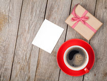 Valentines day blank photo frame, coffee cup and gift box Royalty Free Stock Photography
