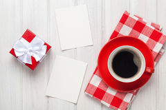 Valentines day blank photo frames, coffee cup and gift box Stock Image