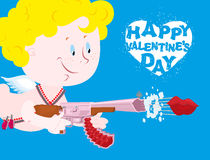 Valentines day. Blue Valentine. Funny Cupid with automatic weapon. S. Kiss departs from  muzzle of gun. Heavenly little angel with bomb of love. Happy Valentine' Stock Photos