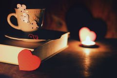 Valentines day book coffee Stock Images