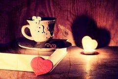Valentines day book coffee Stock Photo
