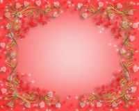 Valentines Day border. 3D Valentine illustration with hearts for card, border or background with copy space Royalty Free Stock Photos
