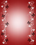 Valentines Day Border Butterflies. 3D Illustration for Valentine's Day frame, background or border Royalty Free Stock Images