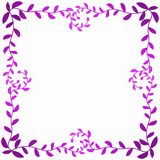 Pink Leafs Frame Corners Valentines Card. Valentines day border frame in purple pink colors with leaf branches around the edge Royalty Free Stock Photography