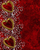 Valentines Day Border gold Hearts royalty free stock images