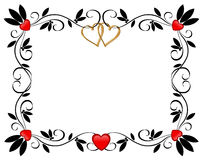 Valentines day Border Hearts ornamental  Royalty Free Stock Image