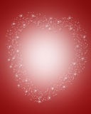 Valentines Day Border Magical heart. 3D Illustration for Valentines Day frame, background or border with sparkling heart on soft red, copy space Stock Photography