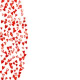 Valentine background with pink glitter hearts. February 14th day. Vector confetti for valentine background template. Valentines day border with red glitter Royalty Free Stock Image