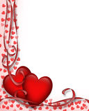 Valentines Day Border Red Hearts 3D  Stock Image