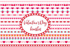 Valentines Day borders set. Cute heart, flowers ornament. Isolated on white background. Vector illustration Stock Photo