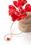 Love hearts bouquet, Valentines Day. Greeting card Stock Photos