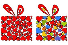 Valentines day box covered by hearts. Royalty Free Stock Image