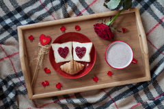 Valentines day breakfast in bed sweet romantic Royalty Free Stock Photos