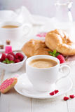 Valentines day breakfast with coffee royalty free stock photography