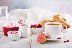 Valentines day breakfast with cooffee royalty free stock photography