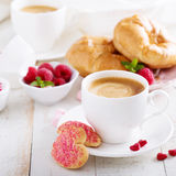 Valentines day breakfast with cooffee stock images