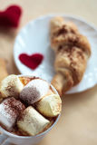 Valentines day breakfast croissants with cocoa royalty free stock images