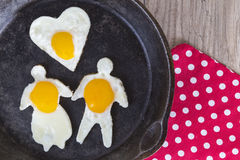 Valentines Day Breakfast Fried Eggs Stock Photos