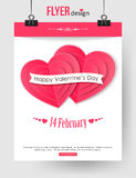 Valentines Day brochure template with paper hearts. And place for text. Abstract typographical flyer. Vector illustration vector illustration