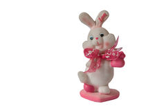Valentines day bunny toy isolated white background Stock Images
