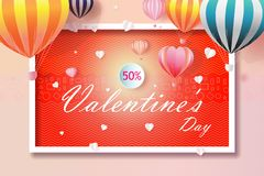 Valentines day business happy sale background. With Heart and Balloons Shaped. Vector illustration for wallpaper, flyers, business, posters, brochure, banner stock photography