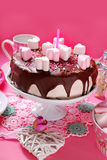 Valentines day cake with heart shaped marshmallow decoration. Valentines day cake with chocolate glaze and heart shaped marshmallow decoration on pink background stock photos