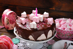 Valentines day cake with heart shaped marshmallow decoration Stock Photo